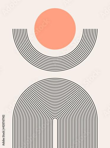Abstract modern bohemian contemporary geometric minimal pattern art style Fototapet