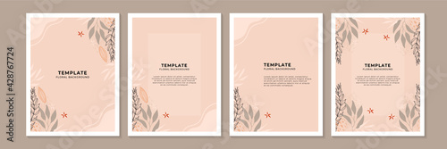 Obraz Social media stories, posts, highlights templates. Abstract floral vector backgrounds with copy space for text - fototapety do salonu