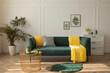 Leinwandbild Motiv Stylish living room interior with comfortable green sofa