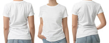 Closeup View Of Woman In T-shirt On White Background, Collage. Space For Design
