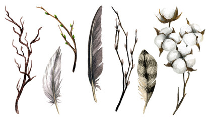 Brown collection of feathers, branches and cotton boxes