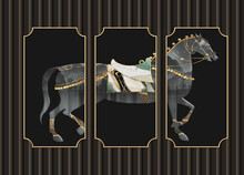 3d Illustration Mural Wallpaper . Black Background And Horse In Frames . For Wall Home Decorative