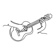 Continuous One Line Of Hand Playing Acoustic Guitar String Instrument In Silhouette. Minimal Style. Perfect For Cards, Party Invitations, Posters, Stickers, Clothing. Black Abstract Icon.