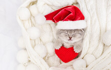A Small Light Tabby Kitten Lies On Its Back On A White Knitted Scarf In A Santa Hat And Holds A Plush Heart With Its Front Paws