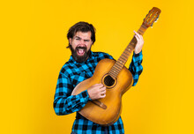 Brutal Bearded Male With Stylish Look Playing Acoustic Guitar, Music