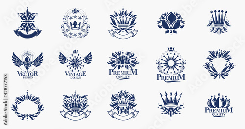 Fototapeta Classic style De Lis and crowns emblems big set, lily flower symbol ancient heraldic awards and labels collection, classical heraldry design elements, family or business emblems. obraz