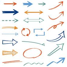 ペンで書いたような手書き矢印 カラフル Arrow Handwritten Colorful