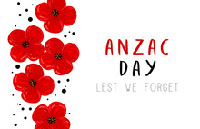 Anzac Day. Red Poppy On White Background. Lest We Forget. Vector Illustration. Anzac Day And Red Poppy Flower. International Remembrance Day. Memorial Date