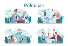 Politician Concept Set. Idea Of Election And Governement. Democratic Governance