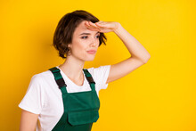 Profile Photo Of Unsure Nice Brown Hair Lady Look Wear Uniform Isolated On Yellow Background