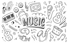 Music Vector Illustration. Doodle Drawing Design Concept