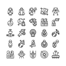Set Of Astronaut, Cosmonaut, Astronomy, Outer Space Outline Style Icon And Illustration