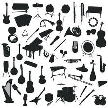Music Illustration Clip Art Design Collection Silhouettes Sound Vector Set.