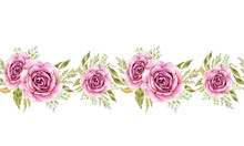 Seamless Border With Watercolor Pink Rose Flowers. Isolated On White Background Hand Painted, For Weddings And Invitations