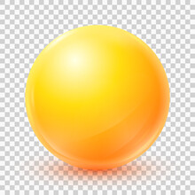 One Big Beautiful Yellow Ball Isolated On White Background. Realistic 3d Yellow Sphere. Glass Glossy Vector Ball With Shadow. Abstract Crystal Magic Sphere. Vector Illustration Eps10