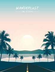 summer paradise road trip beautiful sunset tropical palm