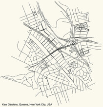 Black Simple Detailed Street Roads Map On Vintage Beige Background Of The Quarter Kew Gardens Neighborhood Of The Queens Borough Of New York City, USA