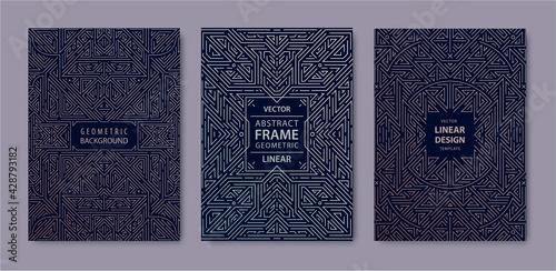 Fotografia, Obraz Set of vector Art deco golden covers