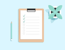 Clipboard With Checklist On A White Sheet Of Paper With Green Tick Marks. Check List, To Do, Questionnaire Concept. Document On The Table. Top View. Minimalist Isolated Flat Vector Illustration