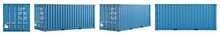Set Collection Of Blue Shipping Cargo Container In Various Different Angles Isolated White Background. Transportation Ship Delivery Logistics And Freight Concept.
