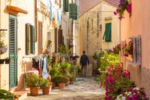 Narrow Street In Portoferraio, Island Of Elba