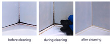 A Collage Of Photos Before, During, And After Cleaning The Black Toxic Mold In The Inter-tile Seams In The Corner Of The Bathroom. An Example Of Successful Operation Of Cleaning Chemicals