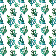 Watercolor Seamless Pattern. Blue And Green Seaweed. Sealife Textile Pattern.