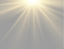 Sunlight With Bright Explosion, Flare Sun Rays.