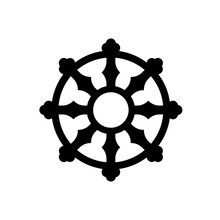 Buddhist Dharma Wheel Black Icon. Clipart Image Isolated On White Background