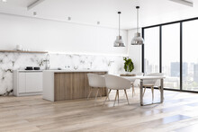 Eco Style Interior Kitchen With Light Marble Walls, Wooden Floor And Countertop, White Table And Chairs And City View From Big Window