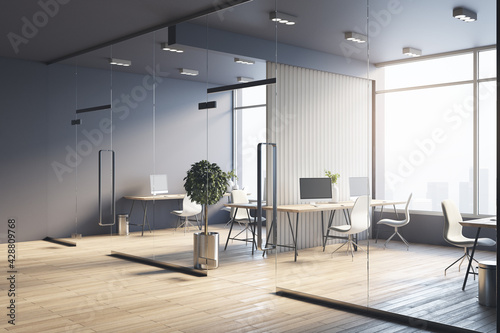 Fototapeta Spacious sunny office with wooden furniture, partitions, tree in flowerpots, light chairs and glossy floor