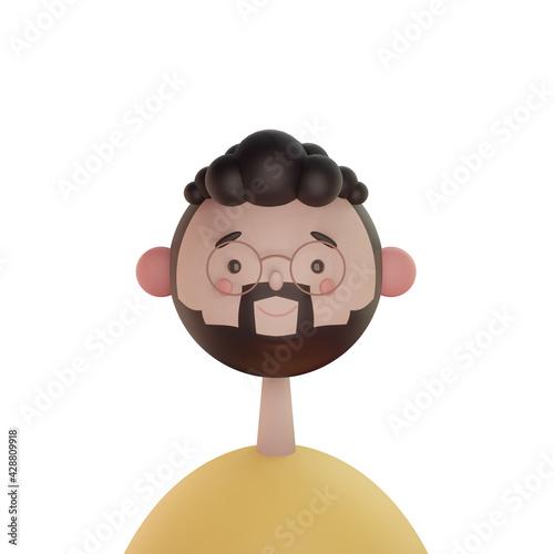 visage de face 3D souriant et heureux