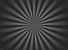 Black Sunburst Background. Retro Background With Starburst And Ray. Black-gray Beam After Burst. Abstract Vintage Texture With White Rays Of Sun. Pattern Of Pinwheel And Stripes. Solar Glow. Vector
