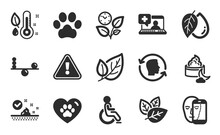 Night Cream, Pets Care And Skin Care Icons Simple Set. Leaf, Organic Tested And Face Biometrics Signs. Disabled, Thermometer And Medical Help Symbols. Dog Paw, Leaves And Mineral Oil. Vector