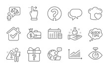 Lawyer, Eye Laser And Love Cooking Line Icons Set. Secret Gift, Calendar And Quick Tips Signs. Chemistry Lab, Salary And Question Mark Symbols. Graph, Touchscreen Gesture And Talk Bubble. Vector