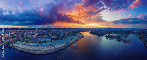 Canvas Print Sunset over Dnipro
