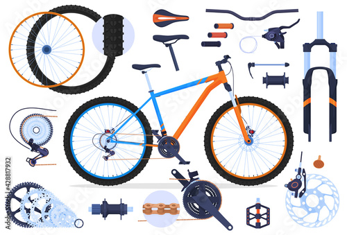 Slika na platnu Mountain bike, details to it