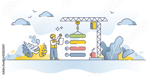 Obraz Planning, work flow organization for effective performance outline concept. Production business process optimization and precise task control as successful project time management vector illustration - fototapety do salonu
