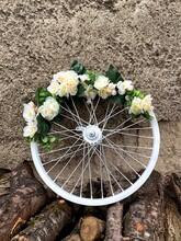 Bicycle Wheel With Flowers. Wedding Original Decor. Vertical