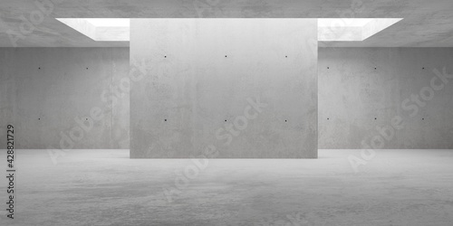 Abstract empty, modern concrete walls room with indirekt ceiling light and center wall - industrial interior background template - fototapety na wymiar