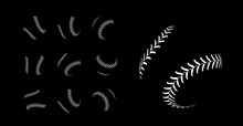 Baseball Lacing On Black Background. Vector Set