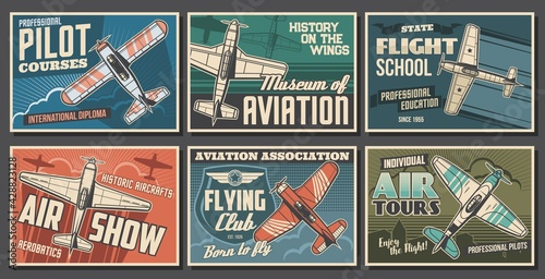 Aviation retro airplanes vector posters set. Pilot training courses, flying school and club, air show, aviation history museum banners. Vintage propeller monoplane, old aircraft flying in sky - fototapety na wymiar
