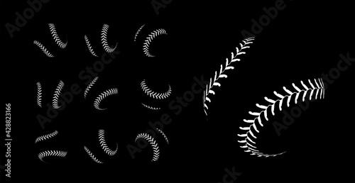 Obraz na plátně Baseball lacing on black background. Vector set