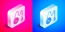 Isometric Yoyo Toy Icon Isolated On Pink And Blue Background. Silver Square Button. Vector