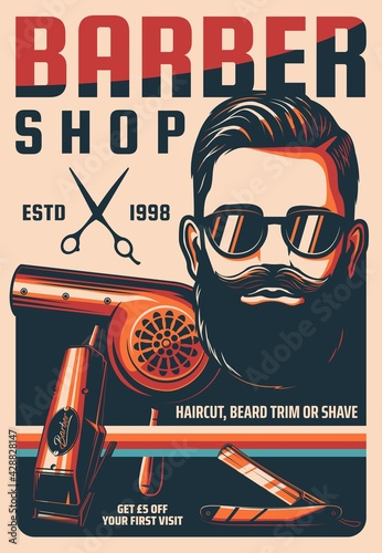 Obraz Barbershop, man hairdresser saloon vintage vector poster. Man haircut, beard trim or shave retro banner. Bearded hipster with handlebar mustaches, scissors and straight razor, hair dryer and clipper - fototapety do salonu