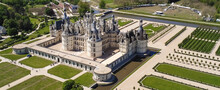 Magnificent Drone Aerial View Of Chambord Castle In France.