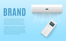 Mockup Banner With Air Conditioning System, Realistic Vector Illustration.