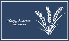 Shavuot, Happy Shavuot, Wheat, Grain, Holiday, Jewish Holiday, Illustration, Vector, Card, Greeting, Harvest, Barley, Greeting Card, White, Blue, Ear, Flyer, Banner, Background, Text, Hebrew, English