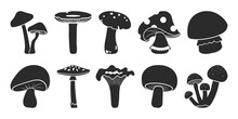 Cartoon Vector Mushrooms Clipart, Doodle Icon Set. Black Silhouettes Isolated On White Background. Nature Illustration
