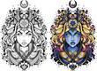 Tatuaż kobieta w granatowej szacie z magicznymi symbolami. Blond włosy. Czarno biały obrys kolorowanka Tatuaż kobieta. Płaska ilustracja wektorowa.